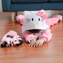 Children Clothes Unisex Kids Kitty Animal Pajamas Cosplay Costumes Boys Girls Flannel Sleep Tops Onesies Pyjama