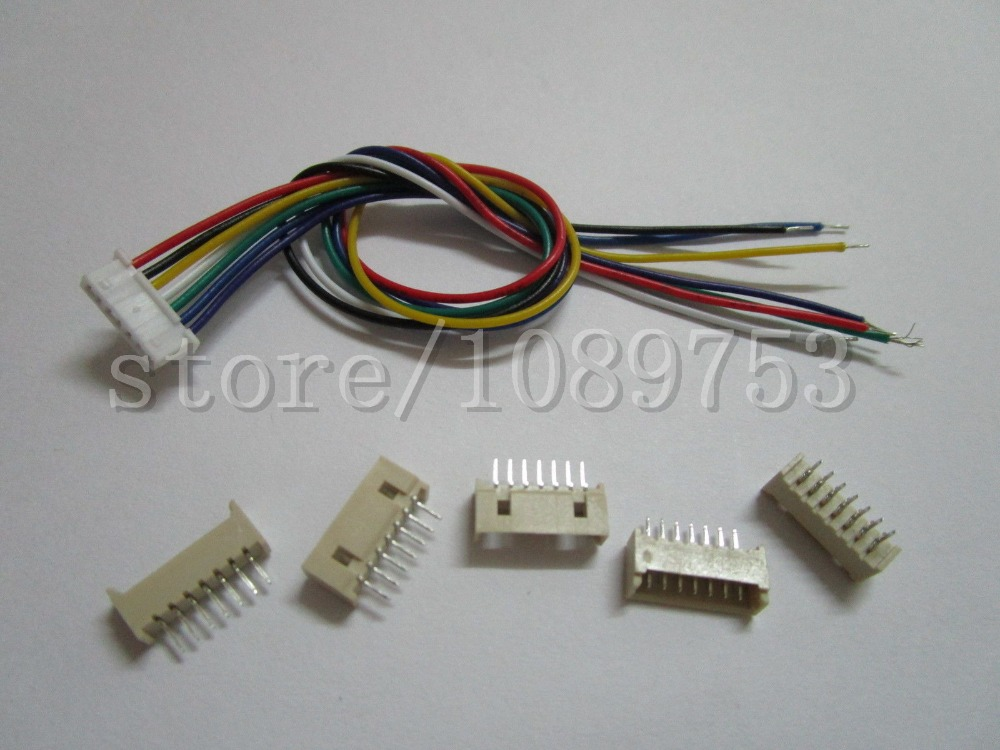 50 pcs 1.25mm Pitch 7 Pin Male + Female Connector with 28AWG 100mm Leads Cable<br><br>Aliexpress