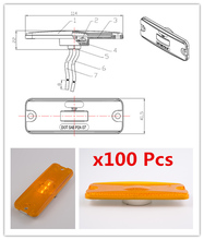 100pcs 10-30V 4*1.5 inch amber yellow LED Rectangle Reflector lights Tail Brake Stop Side Marker Light Truck Trailer Bus lorry(China)