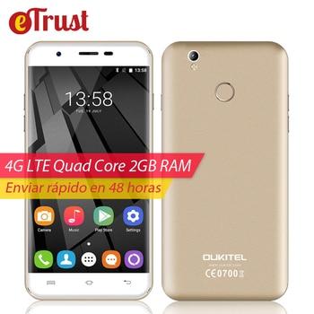 Oukitel u7 teléfono más móvil 5.5 pulgadas hd 1280x720 mtk6737 quad core Android 6.0 2 GB RAM 16 GB ROM 8MP Huella Digital 4G Smartphone