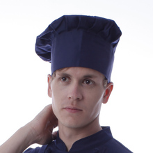 Hot selling cook mushroom cap solid work hat pleated custoary hotel royal blue chef hats high quality beanies cook headwear
