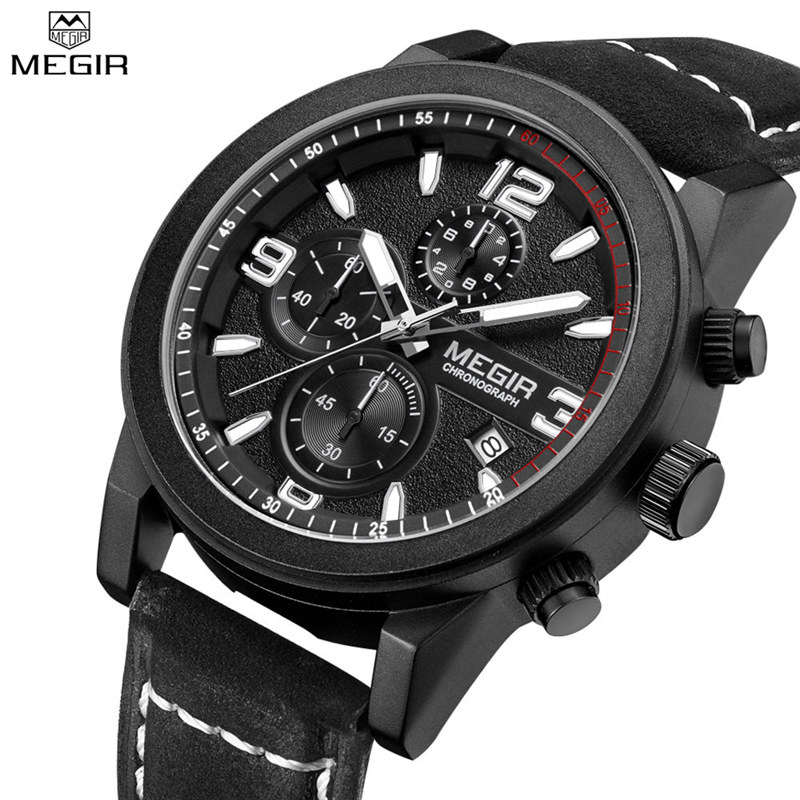 2017 New MEGIR Top Luxury Brand  Sports Chronograph Mens Watches Casual Male Hours Big Dial Genuine Leather Strap Wristwatch<br>