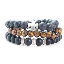 Men Bracelet Natural stone Beads cross charm bracelet set For Women Men Jewelry(China)