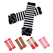 Newest Baby Leg Warmers Girls' Legging Tights 100%Cotton Cute Rainbow Socks Infant Toddler Ruffle Warmers Kids Leg warmers