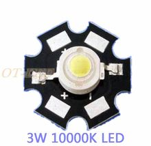 Freeshipping! 10PCS 3W Cool White High Power LED Chip Emitter DC3.6-3.8V 700mA 180-200LM 10000K with 20mm Star Platine Heatsink
