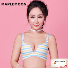 Blue and yellow Seamless Lingerie Women's Gloves Sexy Bones Chests One-piece Dropshipping Spring-Summer Push Up girls bras(China)