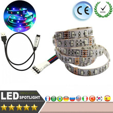 LED Strip light SMD 3528 RGB 1M DC5V 60Pcs/M LED USB light TV background photo frame Christmas party Automotive interior light