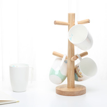Tree Shaped Wooden Cup Stand Folding Rack Coffee Cup Decorative Shelves Office or Home Table Decoration(China)