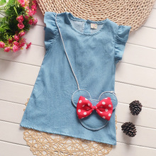 Hot Sale 2017 New Arrival Children Clothing Baby Girls Dress Summer Solid Jean Cartoon Minnie Head Dot Bow With Bag Kids Dress