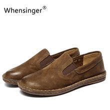 Whensinger-2018 Nuovi Pattini Delle Donne del Cuoio Genuino Appartamenti Punta Rotonda Slip-On Design 8564(China)