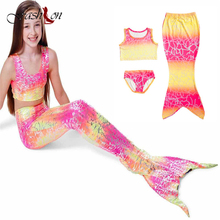 3Pcs Girls Mermaid-Tail Costume Kids Mermaid Tails For Lovely Children Swimmable Mermaid Cosplay Clothes Halloween Fanny Dress(China)