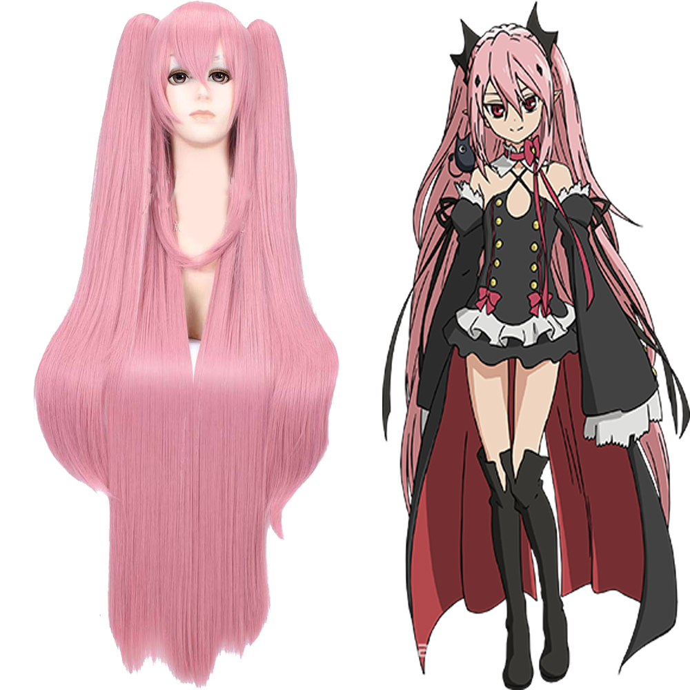 New Arrive 100cm Seraph of the end Krul Tepes pink long straight synthetic cos wig<br><br>Aliexpress