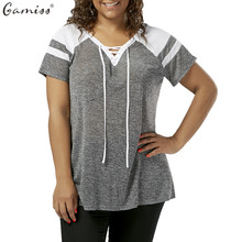Gamiss Women Plus Size Lace Up T-Shirt Raglan Short Sleeve V-Neck Female Casual Tees Tops Women Basic Tops Large Size T Shirt