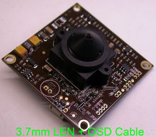 "3.7mm LEN 1/3"" Sony ExView HAD CCD ICX672/673 CCD +CXD4140 CCTV camera module chipboard with OSD cable(China)"