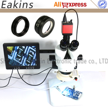 Full set Continuous zoom 7x-90X Trinocular stereo microscope+HD VGA HDMI Industrial Camera with 8 inch monitor for repair