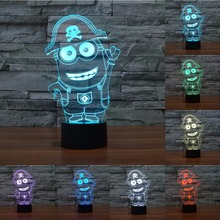 7 Colors change light small yellow people cartoon table lamp 3d light led night light touch sensor lamp for child gift IY803478(China)
