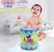 Beiens Hand Drums Toys Musical Instrument Kid Color Piano Music Toy Early Education Game With Light Can Be Charged(China)