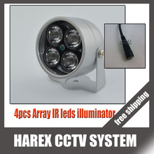 Infrared LED illuminator light with 4PCS Array IR leds LED for CCTV IR Infrared Night Vision, free shipping.