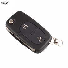 RIN 2Buttons Folding Flip Remote Key Blank Fob Case For Audi A2 A3 A4 A6 A8 TT Car Shell CR2032 Battery with logo
