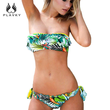 2017 Female Sexy Halter Push Up Thong Bandeau Biquini Ruffled Swimsuit String Swim Wear Beach Bathing Suit Swimwear Women Bikini(China)