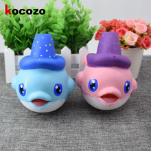 2017 16CM Animal Squeeze Jumbo Stretch Squishy Kawaii Cute Blue Dolphin Slow Rising Phone Strap Scented Bread Cake Kid Toy Gift(China)