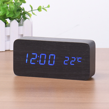 LED Digital Alarm Clock Despertador Sound Control USB/AAA Temperature Display Electronic Wooden 4 Colors Desktop Table Clock
