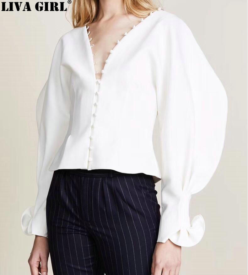 New Autumn Winter V-collar Long Puff Sleeve White Loose Button Stitch Temperament Shirt Women Blouse Fashion