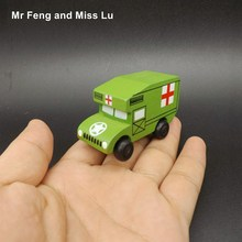 Mini Ambulance Vehicle Educational Toys Wooden Car Model Kid Gift(China)