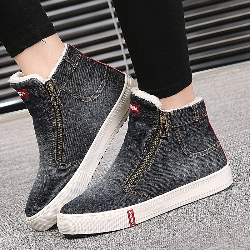 New 2017 Fashion Side Zipper High Top Womens Cotton Shoes Winter Ankle Boots Women Denim Canvas Shoes<br><br>Aliexpress