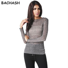 BACHASH Women Blouse Shirts Long Sleeve Sexy Primer Shirt Light Transparent Women Cheap Clothing O-Neck Casual Woman Tops Female
