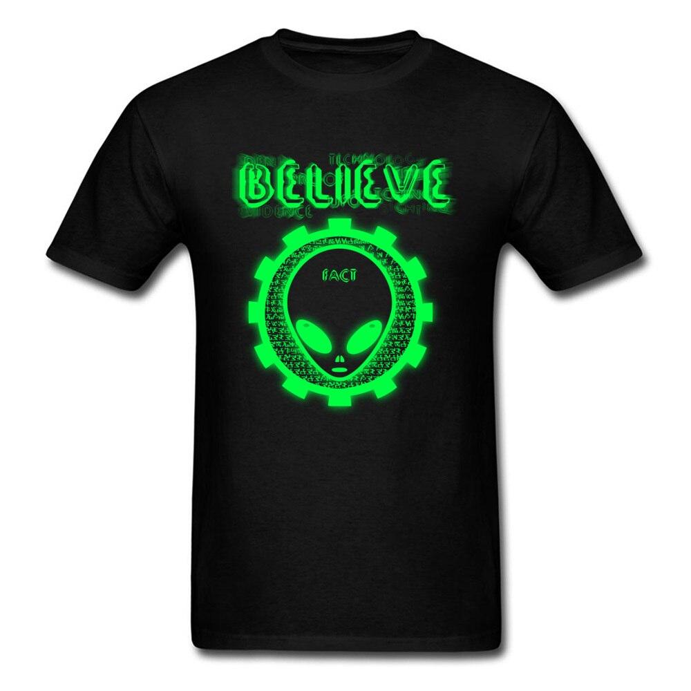 Printing Believe Alien Fact O-Neck T Shirts Thanksgiving Day Tops Shirt Short Sleeve for Men Hip Hop 100% Cotton T-Shirt Believe Alien Fact black