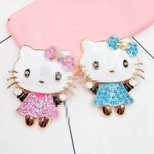 2pcs/lot Min.$15 (Mixed Order) Rhinestones paint hello kitty lovely  cat Cell Phone DIY Alloy  Decoration charms