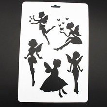 2PC DIY Craft Angel Layering Stencils For Walls Painting Scrapbooking Stamps Album Embossing Paper Cards