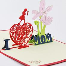 New arrival lovely I love MOM 3D greeting paper card for mothers' day best gift to your mom