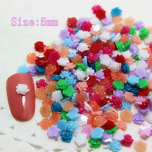 5mm 1000pcs/lot cute mixed colors mini resin flowers flatback cabochon for DIY Nail Decoration,RN023