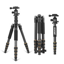 Professional Q666C portable travel carbon fiber tripod Monopod&Ball head for DSLR SLR digital camera(China)