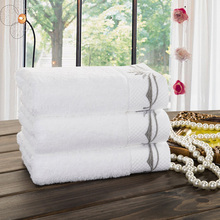 High Quality Embroidered White 100% Cotton Hand Towel 35x78cm Super Absorbent Towel(China)