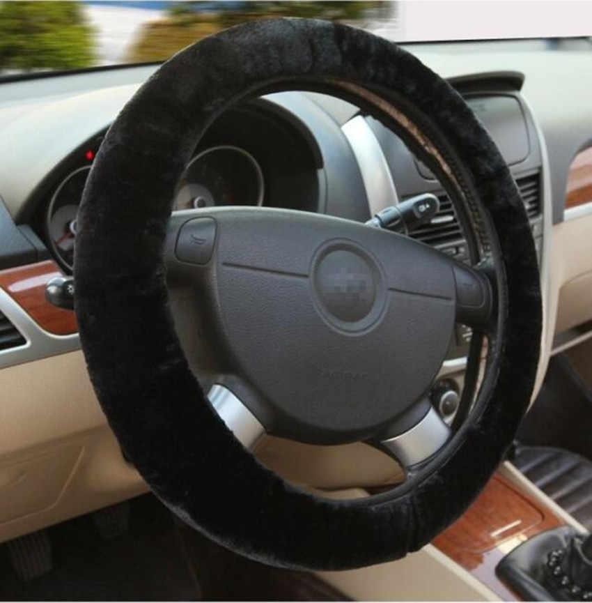 Black Fluff Faux Fur Warm Washable Car Steering Wheel Cover Thick 38CM Elastic