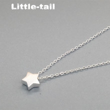 2016 New Listing S925 silver Fashion wild lovely thick compact brushed surface fat star necklace couple Recommended
