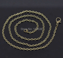 Free ship 20pcs/lot 3x2mm Antique Bronze/Silver/Gold color Cable Chains Link Necklace Finished 70cm copper long chains(China)