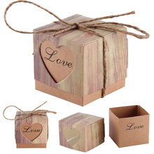 50Pcs Vintage Paper Heart Love Rustic Sweet Laser Cut Candy Gift Boxes Wedding Party Favours Free Shipping