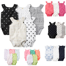 Baby Girls 3pcs and 5pcs Pack Bodysuits Baby Girls Sleeveless Jumpsuit for Bebes Infant carter Cotton Clothing set(China)