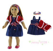 "3in1 Set Doll Clothes Dress+coat+headwear Fashion Casual Wear Outfit for 18""American Girl Doll"