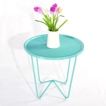 Assemble Home Furnishing simple tea table living room iron small round fashion small side sofa table(China)