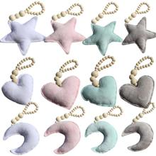 Wholesale Children Baby Wooden Ornaments Moon Star Heart Photography Props Room Hanging Decorations Stroller Accessories Gifts