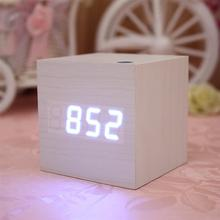 Mini Cube Shaped Home Office Desk Wooden Digital Alarm Clock Sound-Sensitive Clocks and Temperature Display LED Alarm Clock(China)