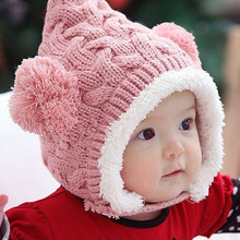 Snow baby hat warm Plush Genius kids winter hats candy colors baby girls hat Ear protection high quality baby boy hats