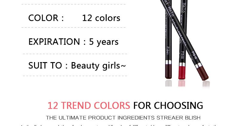 Magical Halo 12pcs/set Pro Waterproof Bright Pencil Lip Liner Pencil Makeup Cosmetic For Lips Long Lasting Lipliner Pen Lipliner 9