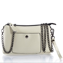 Promotion soft white leather chain bag with extra pocket ladies purses of high quality designer fashion zipper bag 8 colors