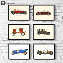 NICOLESHENTING Vintage Poster 1937s Classic Car Minimalist Art Canvas Poster Print Wall Picture Modern Home Room Wall Decoration